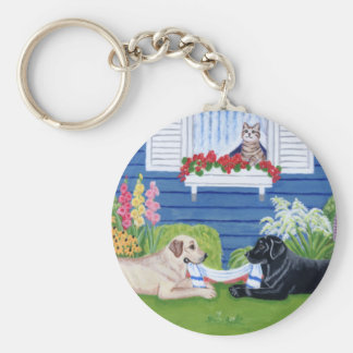 Labradors in the Garden Painting Key Ring