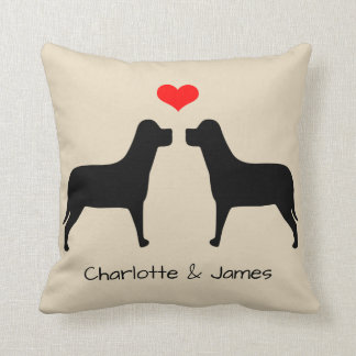 Labradors silhouette with heart personalised cushion