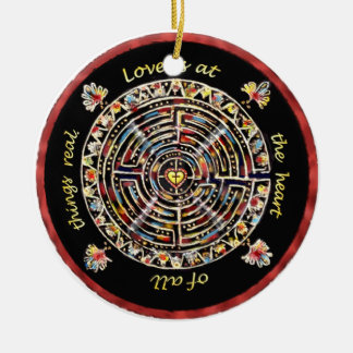 """Labrynth-""""Love is at the Heart of All Things Real"""" Round Ceramic Decoration"""