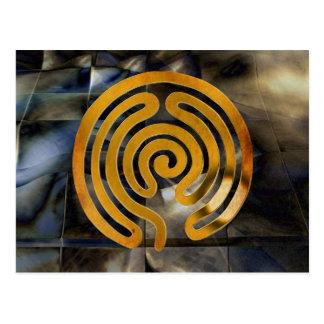 labyrinth antique gold | mosaic grunge postcard