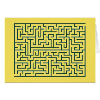 Labyrinth maze n° 17 light yellow cerulean blue card