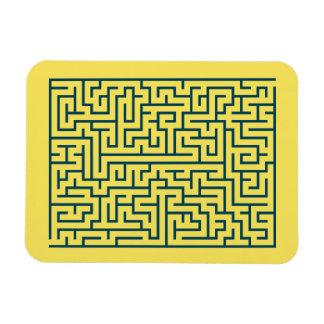 Labyrinth maze n° 17 light yellow cerulean blue magnet