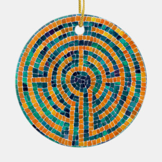Labyrinth Mosaic II Circle Ornament
