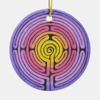 Labyrinth Round Ceramic Decoration