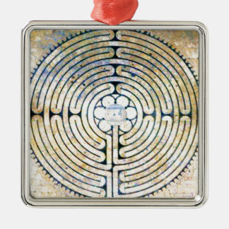 Labyrinth Silver-Colored Square Decoration