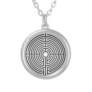 Labyrinth Silver Plated Necklace