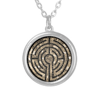 Labyrinth V Round Necklace - Silver Plated