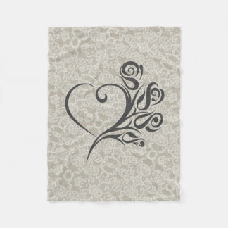 Lace Accents with Heart and Flowers Fleece Blanket