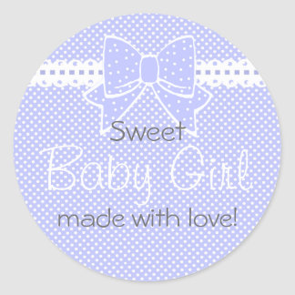 Lace and Bow Lavender Baby Shower Favor Round Sticker