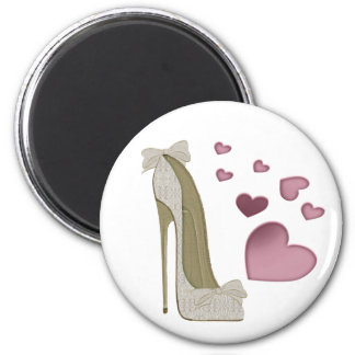 Lace and Bows Stiletto Shoe and Pink Hearts Magnet