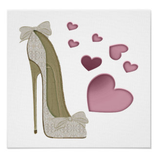Lace and Bows Stiletto Shoe and Pink Hearts Print