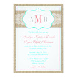 "Lace and Burlap Monogram Rustic Wedding 5"" X 7"" Invitation Card"