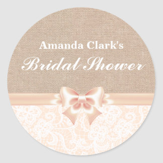 Lace and Burlap Peach Bridal Shower Sticker