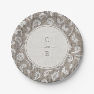 Lace and burlap rustic country wedding monogram 7 inch paper plate