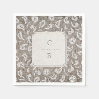 Lace and burlap rustic country wedding monogram disposable napkins