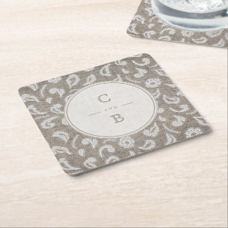Lace and burlap rustic country wedding monogram square paper coaster