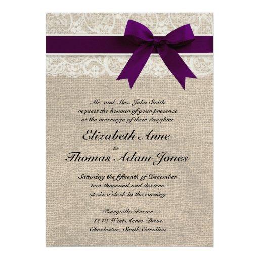 Lace and Burlap Rustic Wedding Invitation- Plum