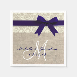 Lace and Burlap Rustic Wedding Napkin Navy Paper Serviettes