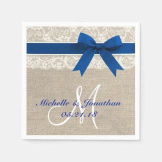 Lace and Burlap Rustic Wedding Napkin Royal Blue Paper Napkin