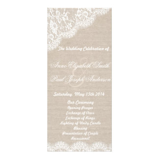 Lace and burlap wedding program full colour rack card