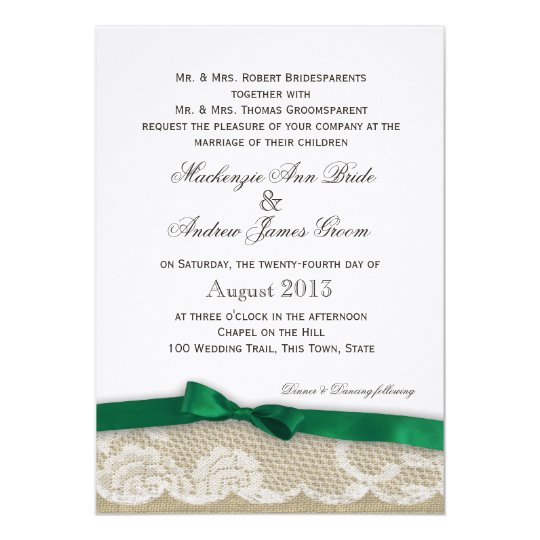 Lace and Emerald Green Bow Wedding Card