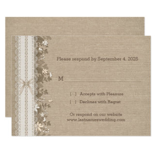 Lace and Flowers on Burlap RSVP Card