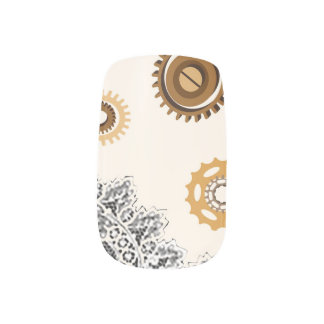 Lace and Gears Nail Art