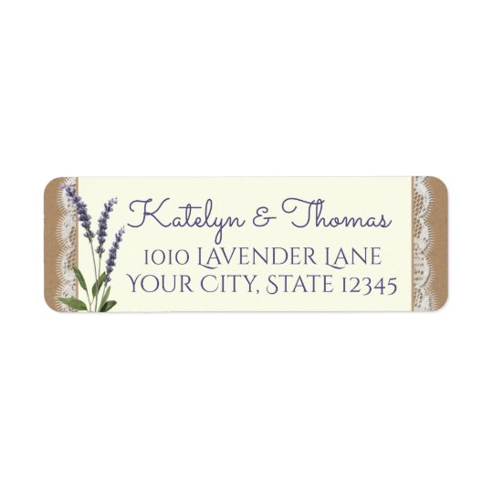 Lace and Lavender Address Return Address Label