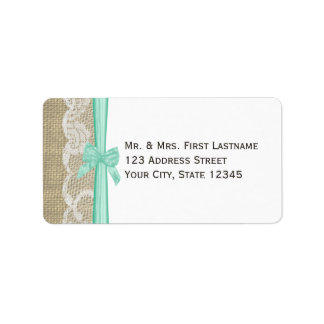 Lace and Mint Green Bow Address Label