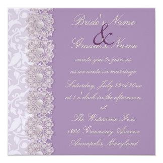 """Lace and Pearls Lavender Wedding Invitation 5.25"""" Square Invitation Card"""
