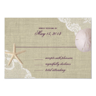 Lace and Sand Dollar Beach Response Card