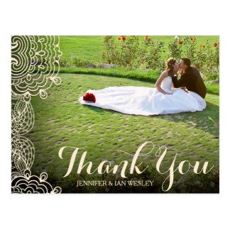 Lace and Script Overlay Wedding Thank You Postcard