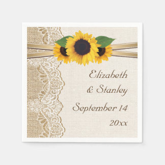 Lace and sunflowers on burlap wedding paper serviettes