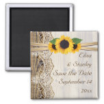 Lace and sunflowers wood wedding Save the Date Square Magnet