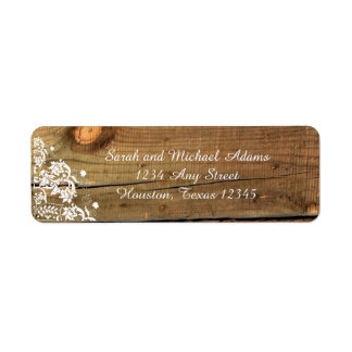 Lace and Wood Rustic Return Address Label