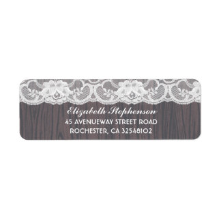 Lace and Wood Rustic Vintage Return Address Label