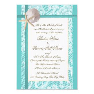 Lace Aqua Beach Wedding 13 Cm X 18 Cm Invitation Card