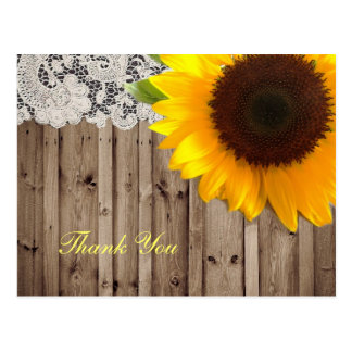 lace barn sunflower country wedding thank you postcard