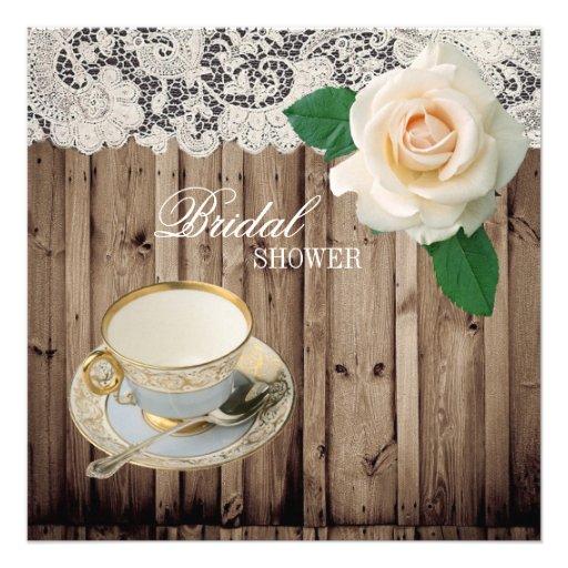 lace barn wood Bridal Shower Tea Party Invitation