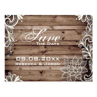 lace barn wood country wedding save the date postcard