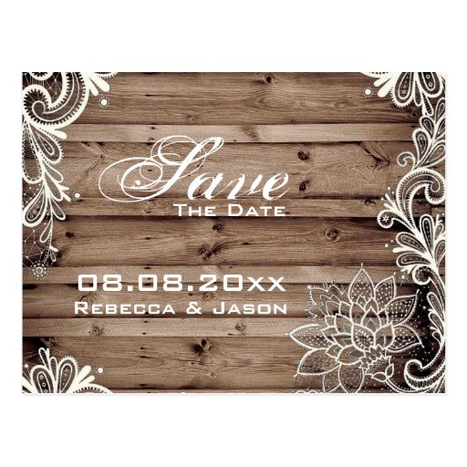 lace barn wood country wedding save the date post cards