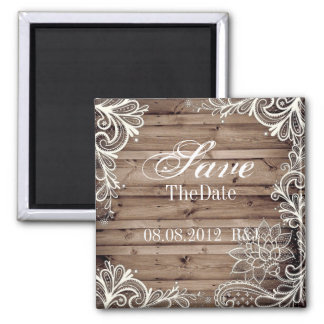 lace barn wood country wedding save the date square magnet
