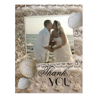 Lace Beach Wedding Photo Thank You Postcard