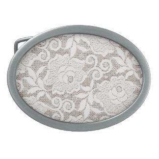 Lace Belt Buckle White Rose Burlap