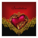 Lace Black Gold Deep Red Heart Jewel Party Personalised Invitations