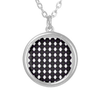 Lace black on white silver plated necklace