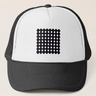 Lace black on white trucker hat