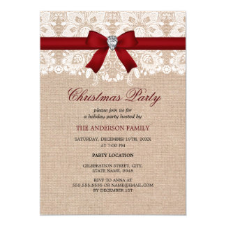 Lace Bow & Burlap Red Christmas Party Invitation