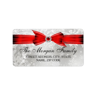 Lace & Bow Silver Red Christmas Address Labels