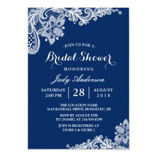 Lace Bridal Shower Trendy Navy Blue 13 Cm X 18 Cm Invitation Card
